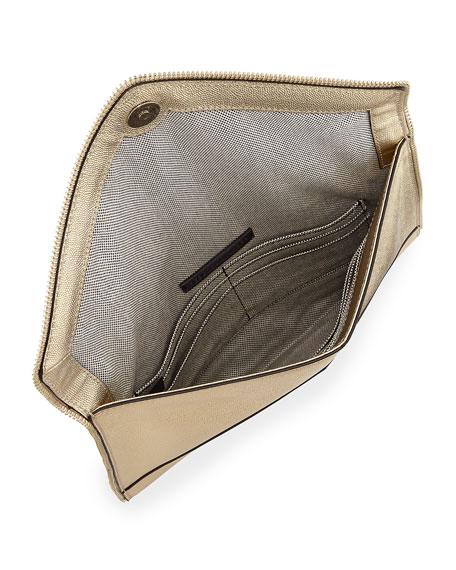 Rebecca Minkoff Leo Zip-Trim Metallic Leather Clutch Bag