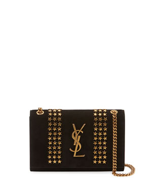 cc647aaa4060 Saint Laurent Kate Monogram YSL Small Star-Studded Suede Chain Crossbody Bag