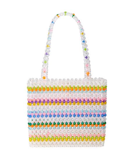 Susan Alexandra Merry Striped Beaded Top-Handle Bag