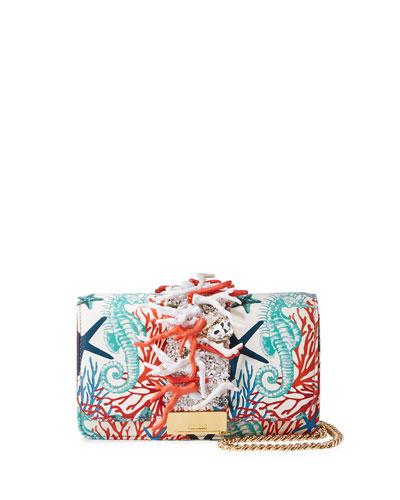 Cliky Mini Jeweled Leather Clutch Bag