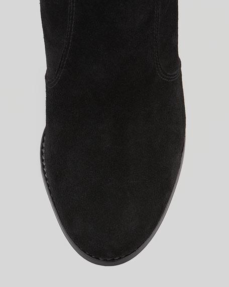 Dalton Suede Stacked-Heel Bootie, Black