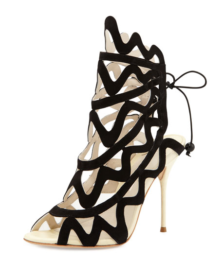 Sophia Webster Mila Suede Cutout Peep-Toe Heel, Black