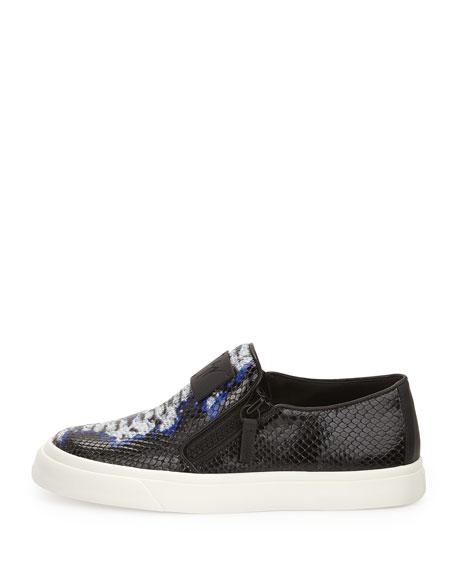 Printed Leather Skate Shoe, Blue
