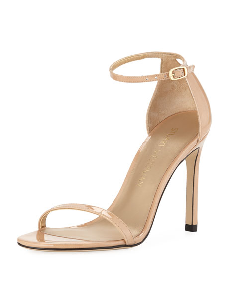 Nudistsong Patent Ankle-Wrap Sandal, Adobe