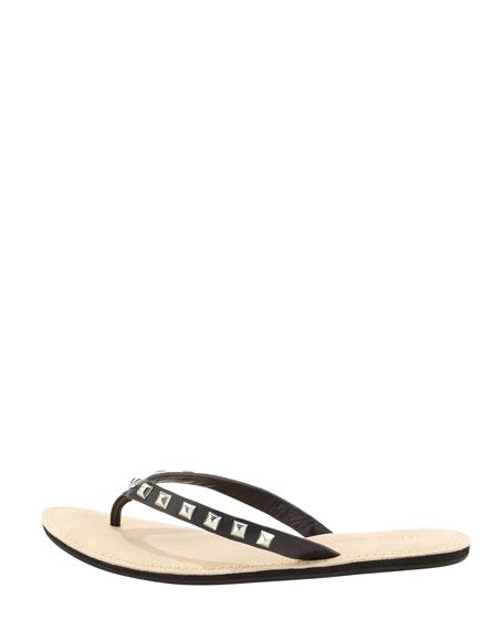 Fiona Studded Leather Flip-Flop, Black