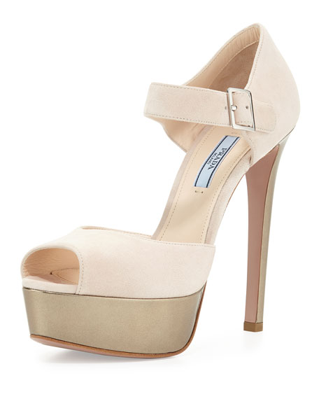 Prada Mary Jane High Heel Sandal, Cipria/Platino