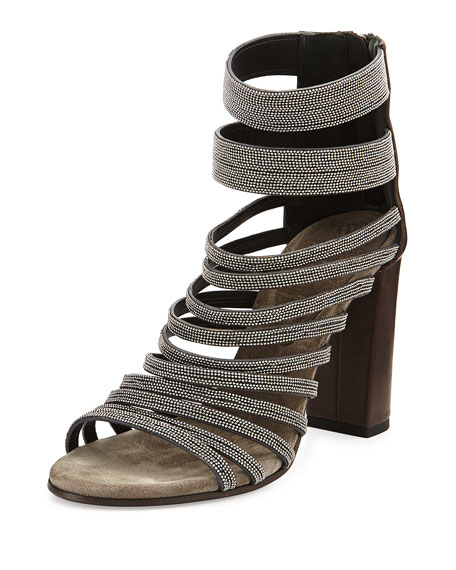 Brunello Cucinelli Leather Strappy Monili Sandal, Graphite