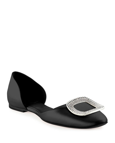 Image 1 of 3: Ballerine Chips Strass d'Orsay Flat, Black