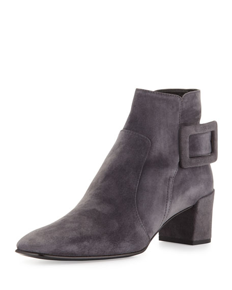 Roger Vivier Polly Suede Side-Buckle Ankle Boot, Dark