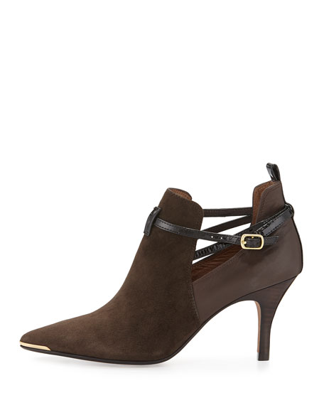 Tali Suede Ankle Bootie, Black/Dark Brown