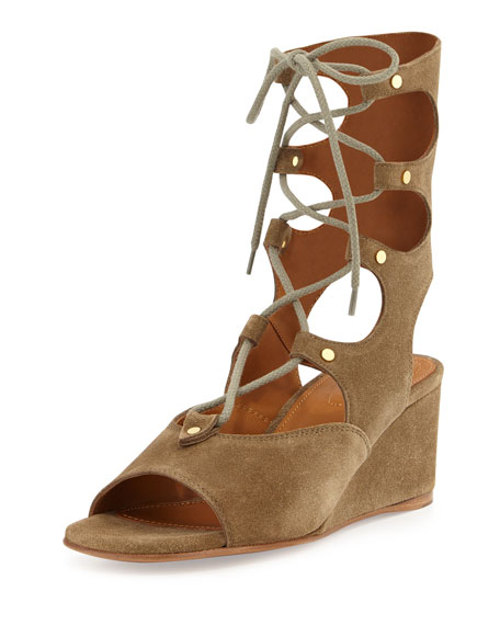 Suede Gladiator Wedge Sandal, Military by Chloe