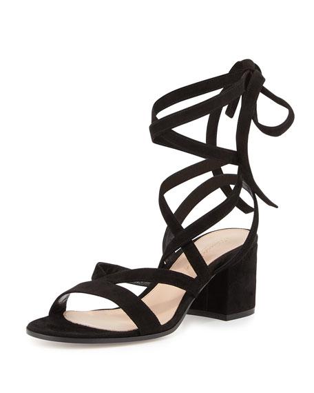 Janis Low Suede Ankle-Wrap Sandal, Black
