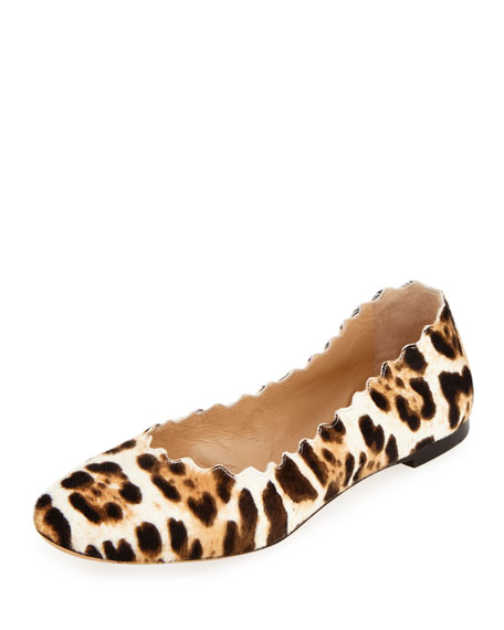 Chloe Lauren Scalloped Calf Hair Ballet Flat Snow Leopard