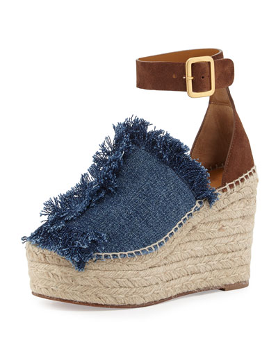 Frayed Denim Espadrille Sandal, Blue/Coffee