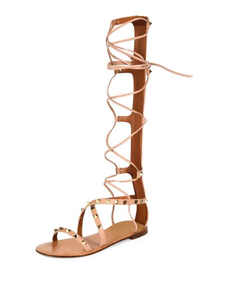 Valentino Rockstud Knee-High Gladiator Sandal, Skin Sorbet