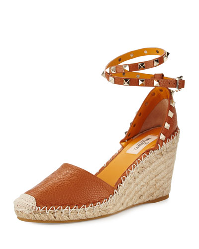 Rockstud Leather Espadrille Wedge, Cuir/Mandarin Sorbet