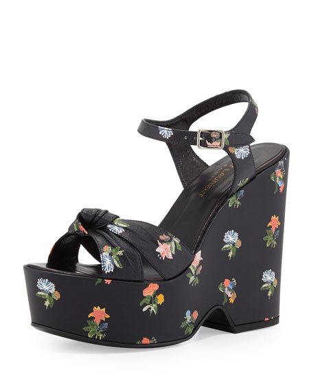 Candy Floral-Print Wedge Sandal, Black/Multi