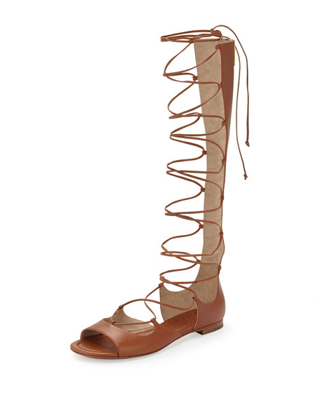 Michael Kors Collection Birdie Tall Gladiator Sandal, Luggage