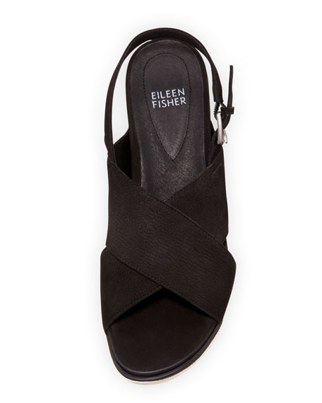 Good Crisscross Wedge Sandal, Black