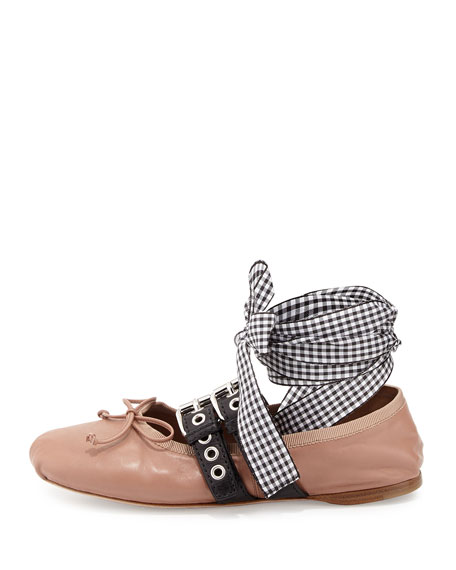 pre order discount cheap online Miu Miu Round-Toe Leather Flats outlet countdown package buy cheap wholesale price discount affordable VJ1Fu