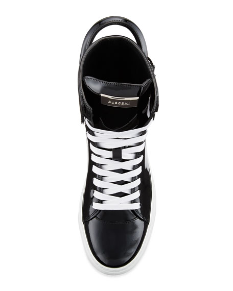 Buscemi Women's Patent Leather High-Top Sneaker, Black