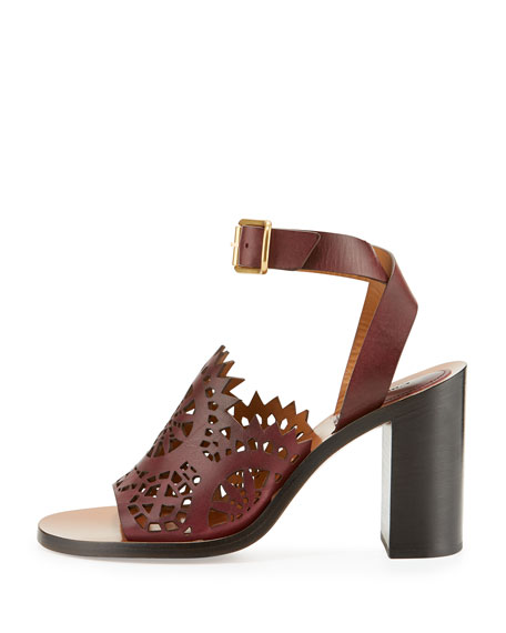 Kelby Crocheted Leather Block-Heel Sandal, Bordeaux