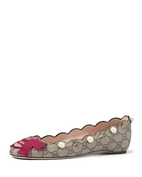 Gucci Lexi Pearly GG Ballerina Flat, Multi