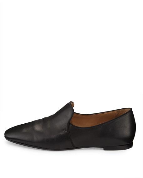 Alys Leather Slipper Flat, Black