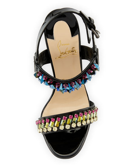 Sova Broda Jeweled 100mm Red Sole Sandal, Black/Multi