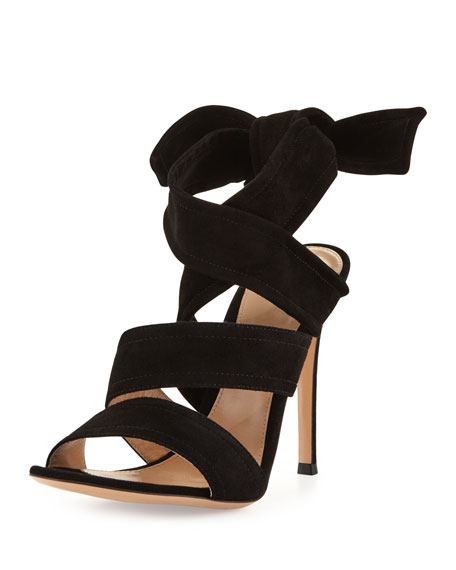 Gianvito Rossi Suede Ankle-Tie 105mm Sandal, Black