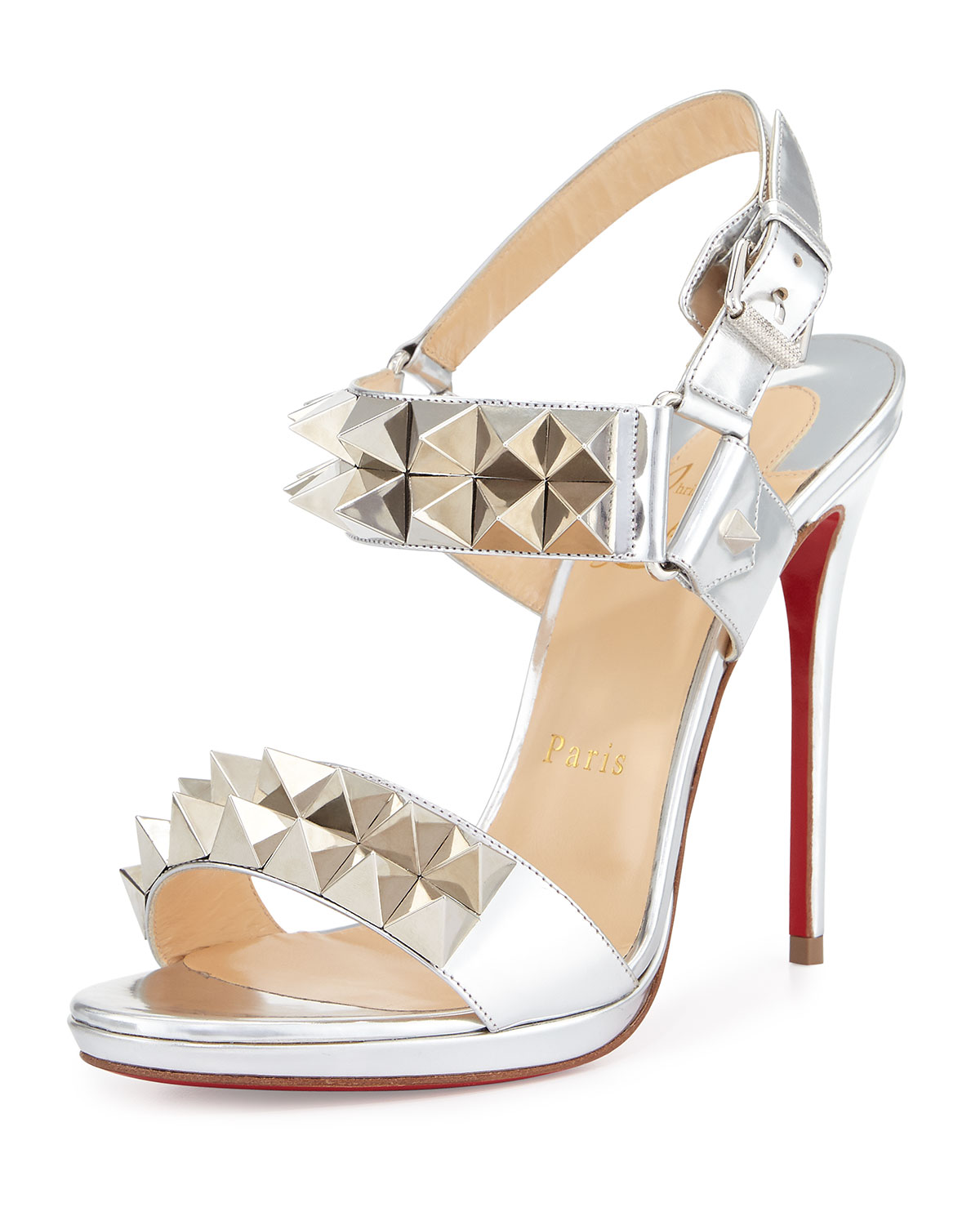 3143730388b Miziggoo Spiked Two-Band Red Sole Sandal, Silver