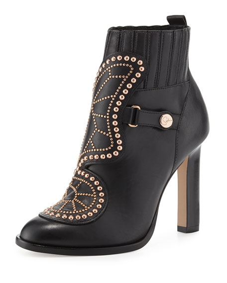 Karina Studded Butterfly 100mm Booties, Black