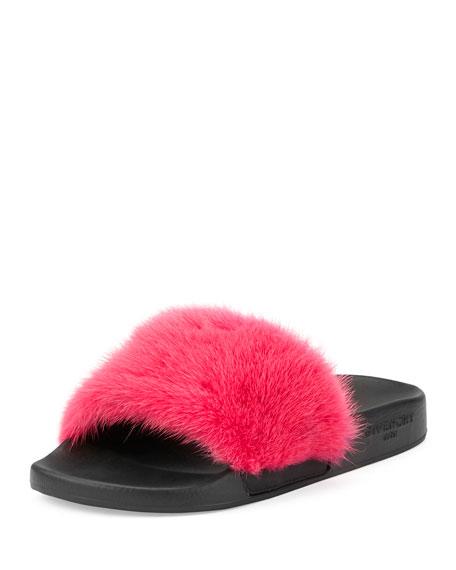 Givenchy Mink Fur & Rubber Slide Sandal, Fuchsia