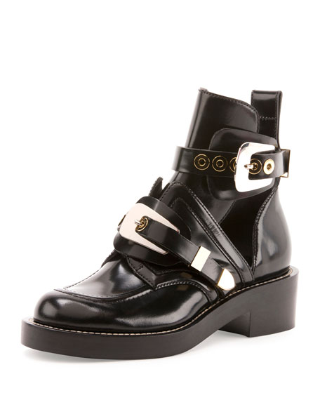 Balenciaga Buckle Leather 35mm Bootie, Black