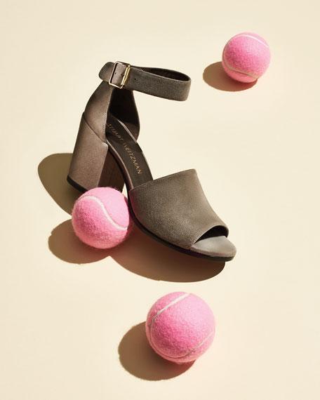 Sohogal Suede City Sandal, Rock (Light Gray)
