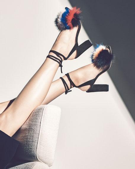 Nicolette Fur Pouf Sandal, Multi/Black