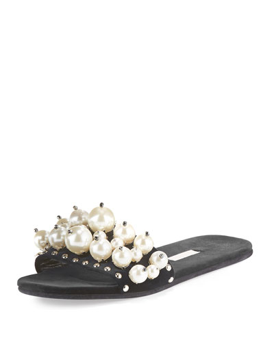 Pearly Velvet Slide Sandal, Nero