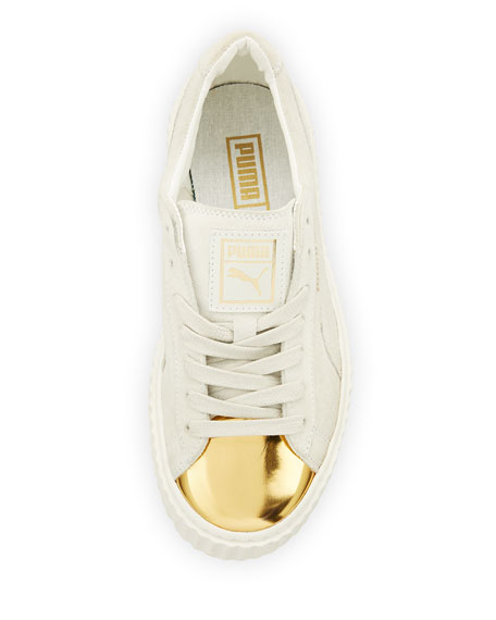 Puma Basket Suede Cap-Toe Creeper, Gold/Star White