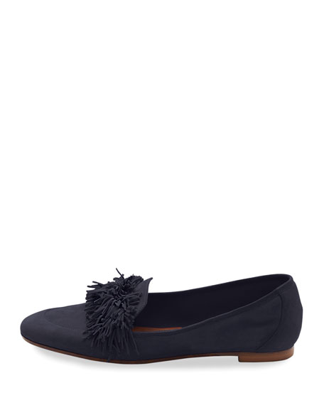 Wild Suede Fringe Loafer, Ink