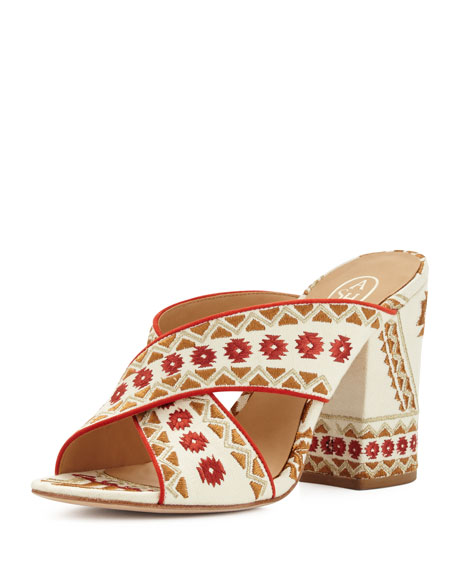 Ash Adel Embroidered Crisscross Mule Sandals, Off White/Coral