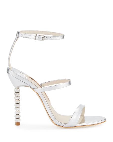 Sophia Webster Rosalind Crystal-Heel Leather Sandals, Silver
