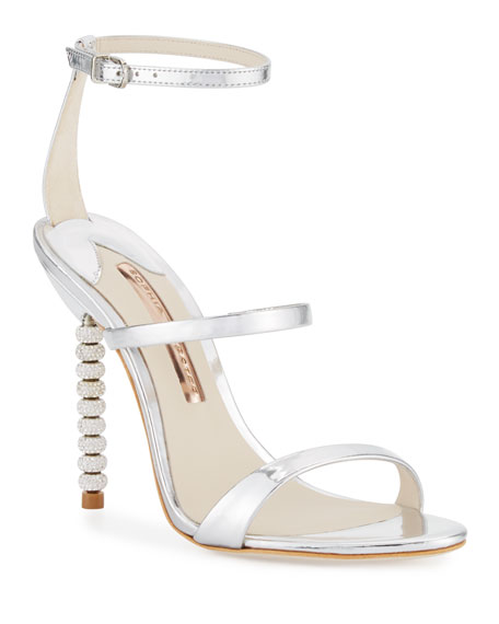 Sophia Webster Rosalind Crystal-Heel Leather Sandals, Silver