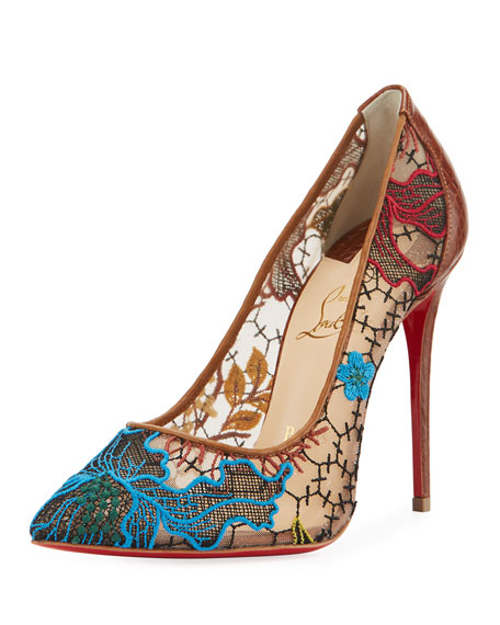 Christian Louboutin Follies Lace Red Sole Pump, Multi
