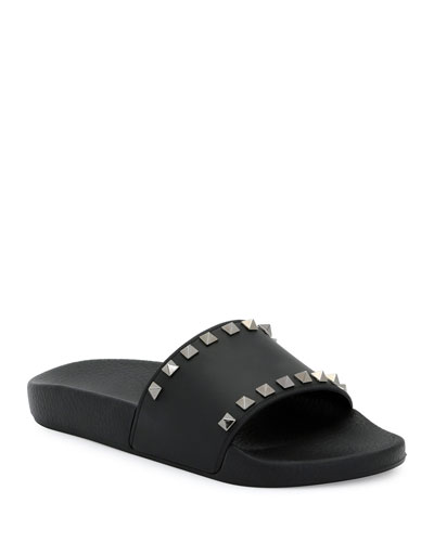 Rockstud Pool Slide Sandals, Black