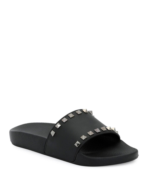 Valentino Garavani Rockstud Pool Slide Sandals, Black ...