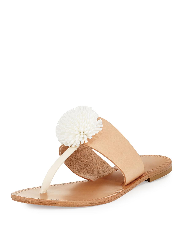 f7f37882499 Joie Nadie Pompom T-Strap Flat Sandal