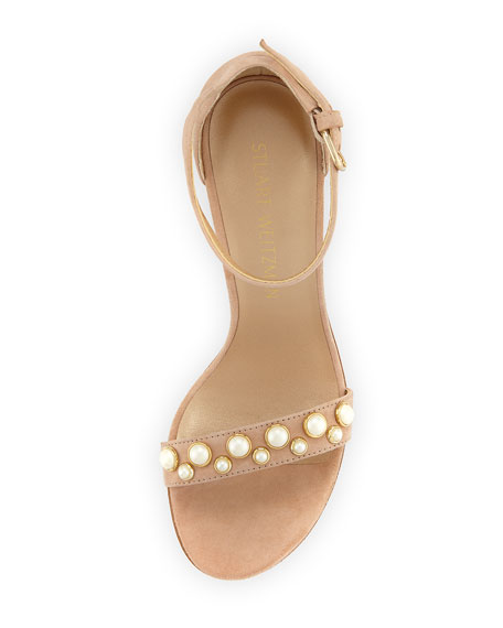STUART WEITZMAN Morepearls Studded Suede Ankle Strap Sandals