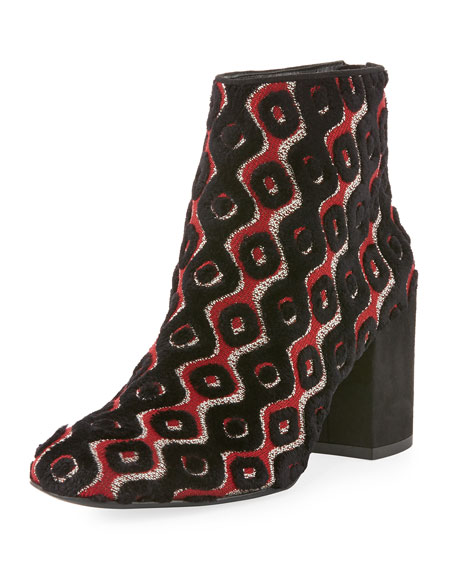 Bacari Tapestry Chunky-Heel Booties, Rosso