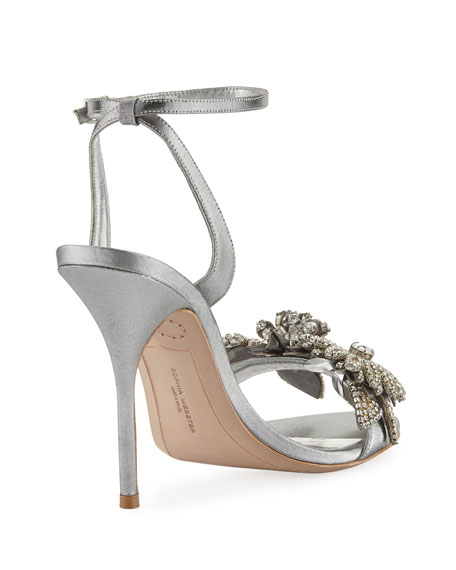 Lilico Crystal Beaded Lamé Ankle-Wrap Sandal, Silver