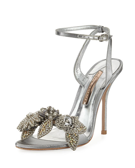 Sophia Webster Lilico Crystal Beaded Lamé Ankle-Wrap Sandal,